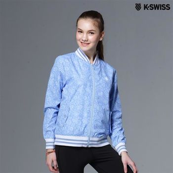 K-Swiss Allover Print Windbreaker休閒風衣外套-女-天空藍