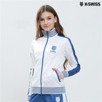 K-Swiss Allover Print Zip Up Jacket休閒外套-女-白