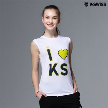 K-Swiss Graphic Tank Top印花無袖背心-女-白  S-XXL