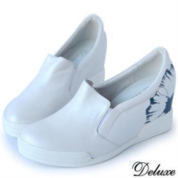 【Deluxe】全真皮印花簡約內增高休閒鞋(白★藍)