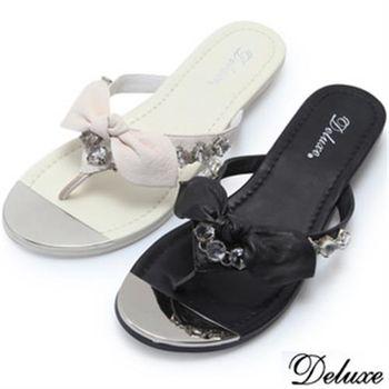 【Deluxe】全真皮水鑽氣質蝴蝶結平底拖鞋(黑★白)-3305-23