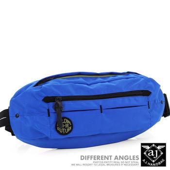 【AJ.亞介】 多格層 質感尼龍 隨身腰包 單肩包 淺藍色  (UE8036)