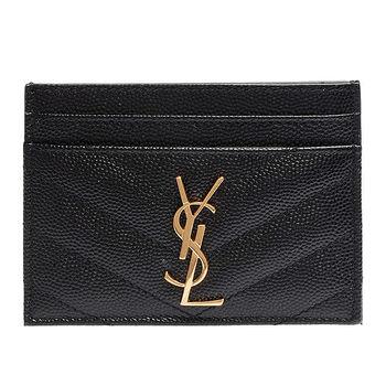 YSL MONOGRAM系列V字縫線魚子醬牛皮金屬LOGO萬用票卡/證件名片夾(黑)
