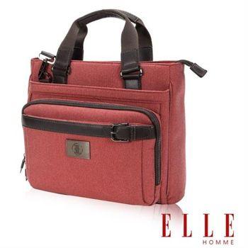 【ELLE HOMME】新款上市米蘭精品魅力II手提/側背公事包款13吋筆電扣層(橘紅 EL82332-41)