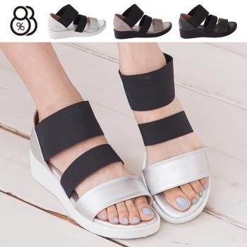 【88%】台灣製 韓版金屬極光感 一字伸縮帶質感造型 厚底羅馬涼鞋(銀色)