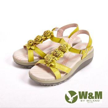 W&M 美麗三花扣環式涼鞋女鞋-黃(另有橘)