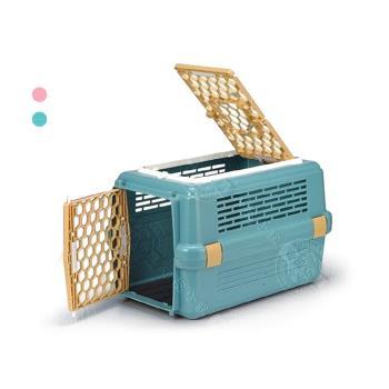 【特價】皇冠運輸籠-天窗型寵愛籠 No.843 (粉色/藍色) 有防誤開設計