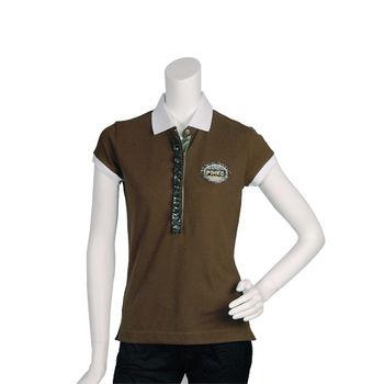 PINKO 亮片水鑽混搭裝飾短袖POLO衫(咖啡)