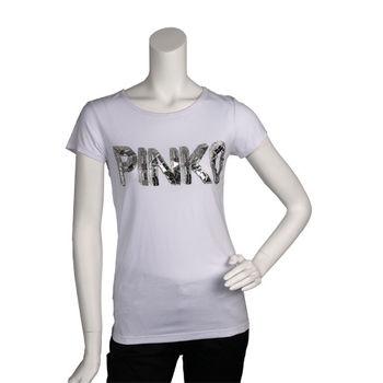 PINKO 經典亮片繡縫LOGO短袖T shirt (白色_S)