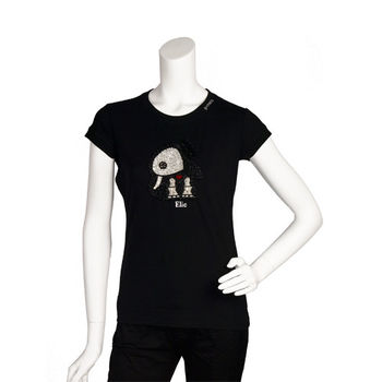 PINKO 俏皮串珠水鑽繡縫可愛小象造型短袖T shirt (黑色_M)