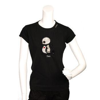 PINKO 俏皮串珠水鑽繡縫可愛企鵝造型短袖T shirt (黑色_M)
