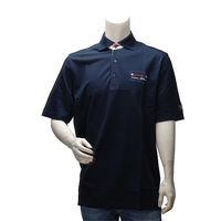 PAUL  SHARK 經典網眼刺繡LOGO條紋飾邊純棉立領短袖POLO衫(深藍)