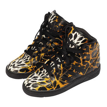 Adidas OriginalsJeremy Scott 豹紋高筒球鞋(黑色)