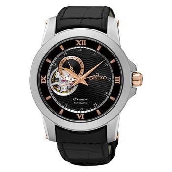 SEIKO 精工 Premier 開芯系列羅馬機械皮帶腕錶-41mm/4R39-00P0C(SSA324J1)