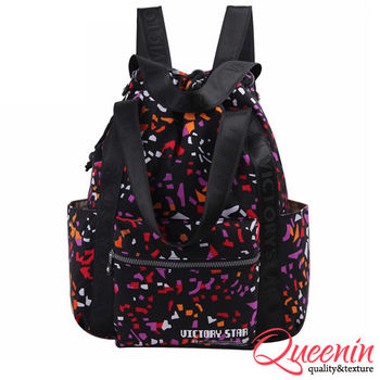 DF Queenin日韓 - 日系街頭藝術風多功能3用式後背包-共9色
