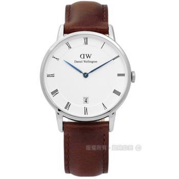 DW Daniel Wellington / DW00100095 / Dapper 經典羅馬樸實高雅學院風真皮手錶 白x咖啡 34mm
