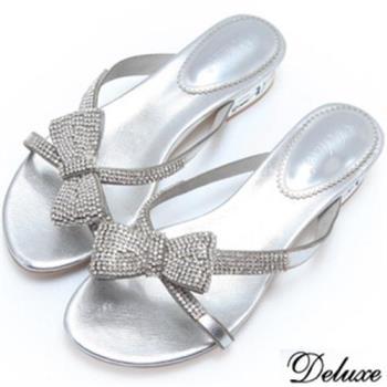 【Deluxe】全真皮氣質璀璨水鑽蝴蝶結拖鞋(銀)