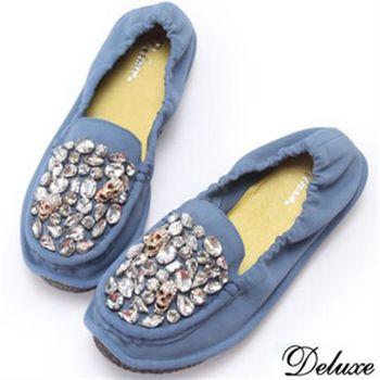 【Deluxe】全真皮水鑽骷髏莫卡辛鞋(藍)