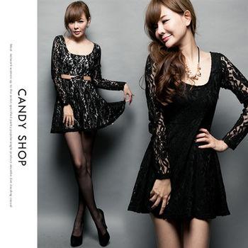 CANDY小舖 大圓領雙層蕾絲襯內裡圓裙洋裝