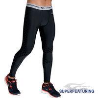 SUPERFEATURING 專業跑步 三鐵 Training運動壓縮緊身褲 黑色