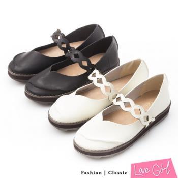 ☆Love Girl☆學院女孩造型切口繫帶平底娃娃鞋