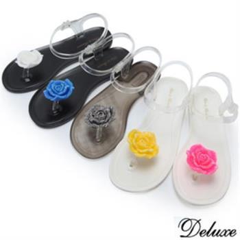【Deluxe】活力耀眼青春玫瑰夾腳涼鞋(白、藍、灰、黃、粉)