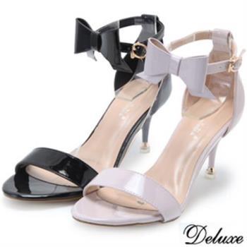 【Deluxe】優雅綁帶蝴蝶結露趾低跟鞋(黑★紫)-409-2