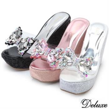 【Deluxe】俏皮閃耀蝴蝶結厚底楔形涼鞋(黑★粉★白)