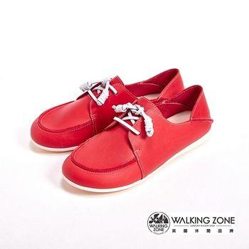 WALKING ZONE 真皮英倫雷根休閒鞋綁帶女鞋-紅(另有米、藍)