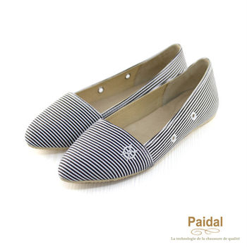 Paidal 船錨水手風尖頭娃娃鞋/懶人鞋-黑