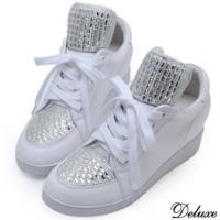 【Deluxe】全真皮水鑽綁帶休閒內增高厚底鞋(白)-65-3
