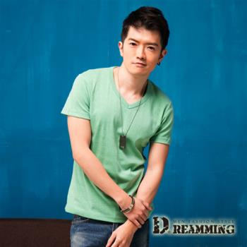 【Dreamming】簡約素面布標修身V領短T(共七色)