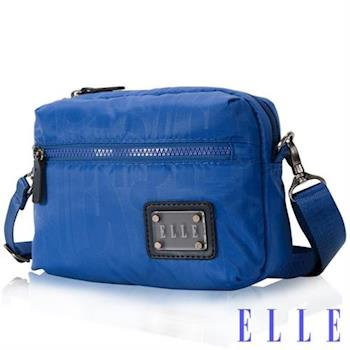 【ELLE】法式優雅休閒系列輕細尼龍防潑水小方直立包側背款(海藍 EL83452-42)
