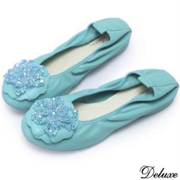 【Deluxe】全真皮水晶層次花朵平底娃娃鞋(藍)-009-16