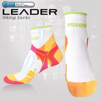 任-LEADER COOLMAX 透氣中筒 戶外健行 機能運動襪(橙色)