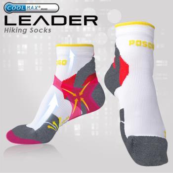任-LEADER COOLMAX 透氣中筒 戶外健行 機能運動襪(灰色)