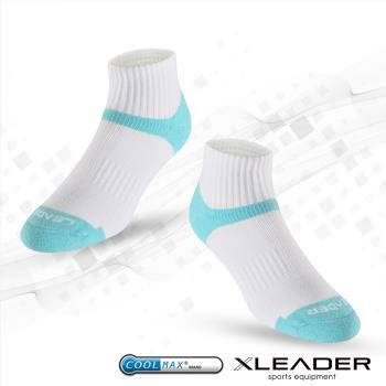 任-LEADER COOLMAX 除臭 機能運動襪(白藍)