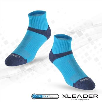 任-LEADER COOLMAX 除臭 機能運動襪(亮藍)