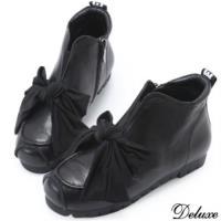 【Deluxe】全真皮俏皮帥氣蝴蝶綁帶厚底休閒鞋(黑)-888-8
