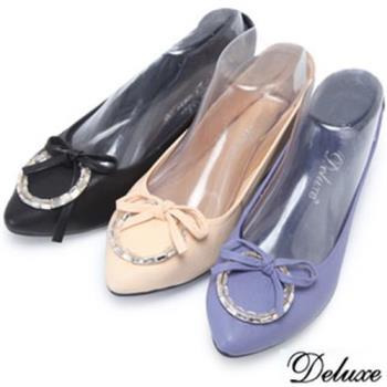 【Deluxe】全真皮蝴蝶水鑽圓環尖頭口袋鞋(黑★米★紫)-A268-5