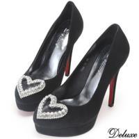 【Deluxe】全真麂皮心型鑽包頭高跟鞋(黑)-1396-12