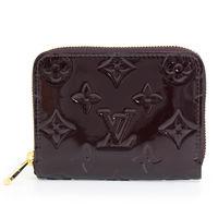 LV M93607 Vernis漆皮壓紋信用卡零錢包.紫紅色_