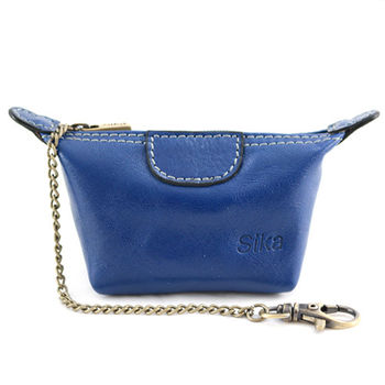 Sika義大利時尚真皮經典水餃零錢包A8290-05亮寶藍