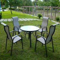 BROTHER 兄弟牌105cm鋁製庭院桌+鋁製高背紗網椅一桌四椅組