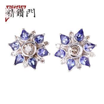 【精鑽門】藍星花丹泉石鑽石耳環