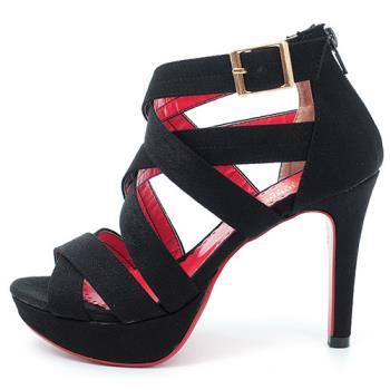 【 cher美鞋】性感羅馬高跟涼鞋♥黑布款♥A819-03