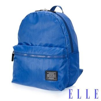 【ELLE】法式優雅休閒 輕細尼龍防潑水 IPAD/10吋平板機能後背包(海藍 EL83828-42)