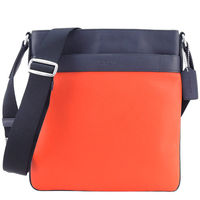 COACH 壓印LOGO雙色皮革扁斜背包(橘/深藍)