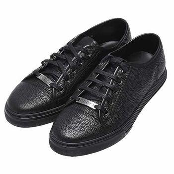 GUCCI 經典素面荔枝紋小牛皮金屬LOGO綁帶休閒鞋(黑色-鞋碼8)