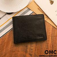 OMC - 韓系原皮工藝薄型真皮上下翻11卡1照短夾-黑